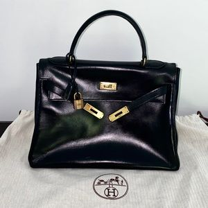 HERMES KELLY 32 Black Box Leather Bag Vintage